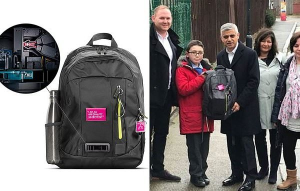 Children wear 'air quality monitoring' rucksacks to school