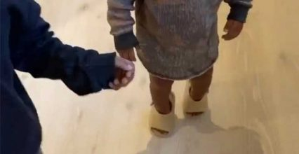 Kim Kardashian and Kanye West's Kids Try on New Yeezy Slides: 'Do They Have These in My Size?'