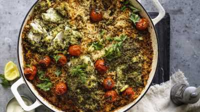 Baked blue-eye with olive, lemon & spiced rice pilaf