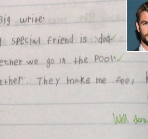 Chris Hemsworth Shares Son's Sweet Creative Writing Project: 'My Special Friend Is Dad'